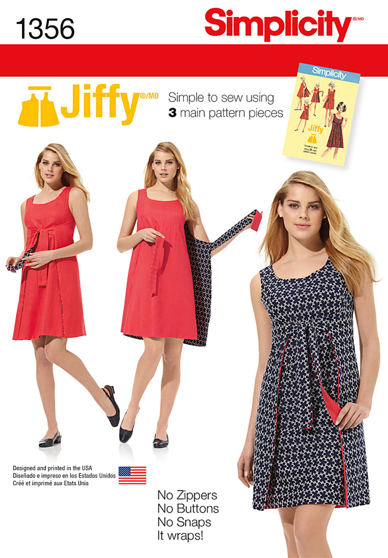 Simplicity 1356 Misses' Jiffy® Reversible Wrap Dress ...