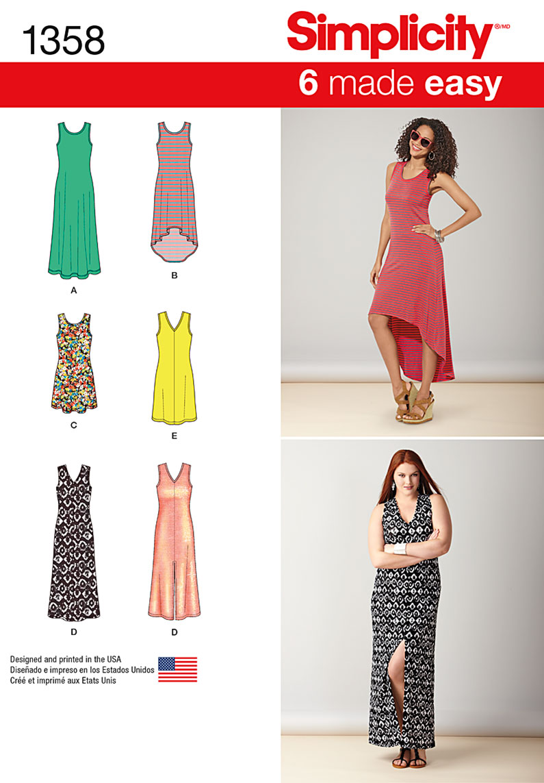 Simplicity Misses' Knit Dresses with Length and Neckline Variations 1358