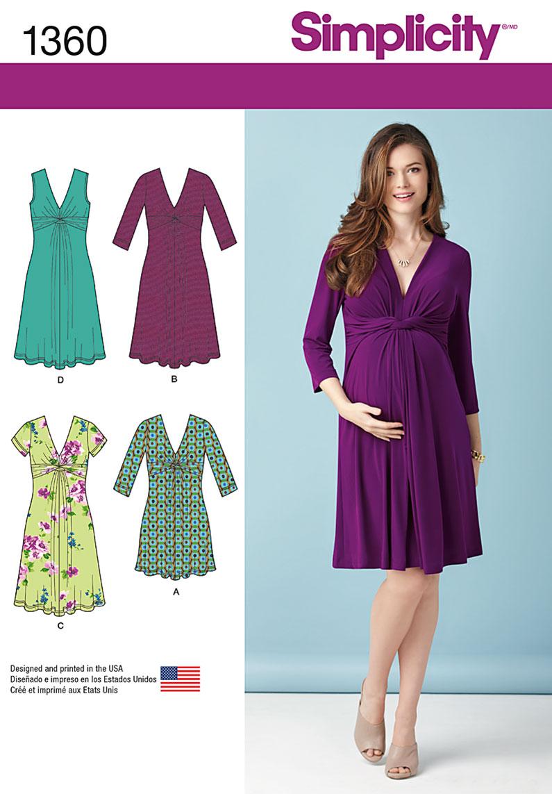 Simplicity Misses' Maternity Knit Dress or Mini Dress 1360