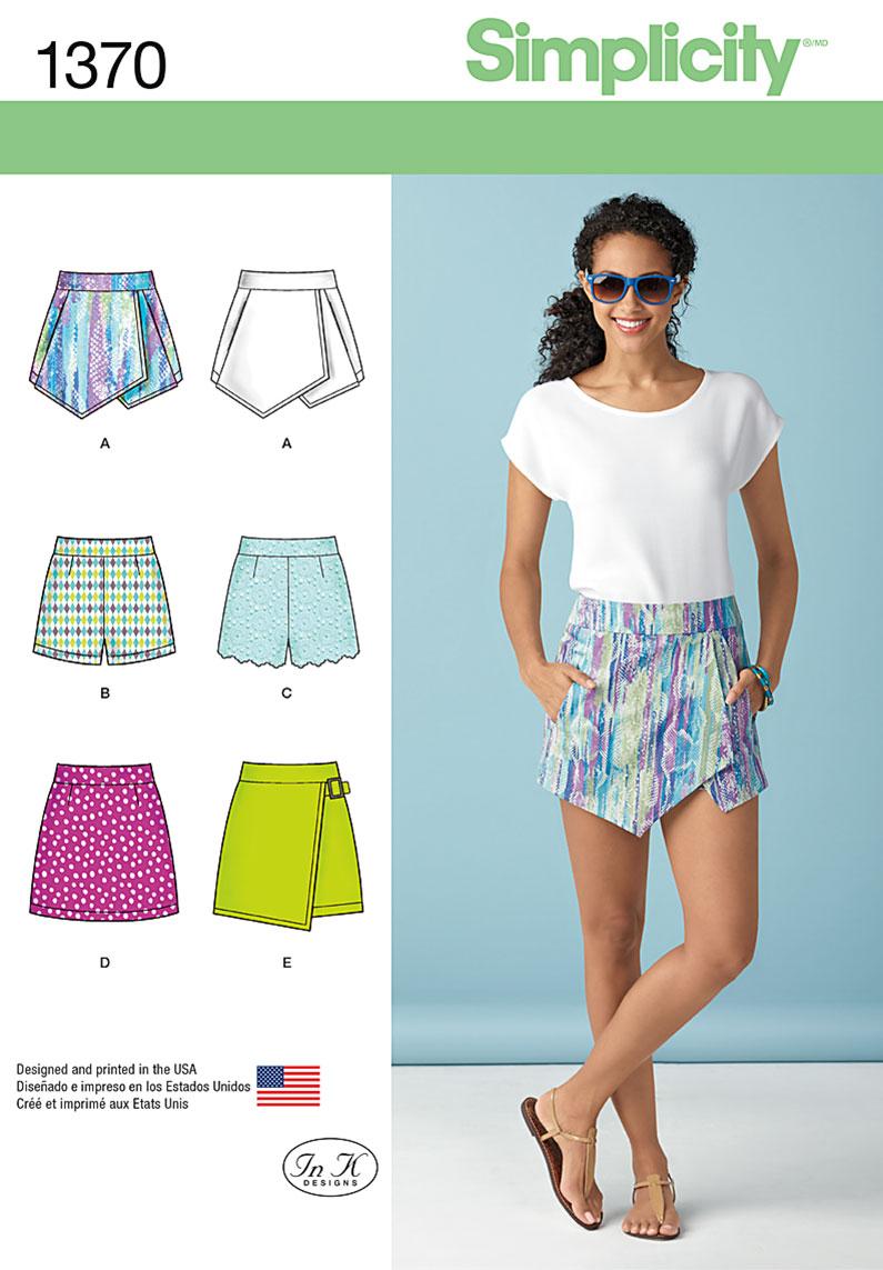 Simplicity Misses' Shorts, Skort and Skirt 1370