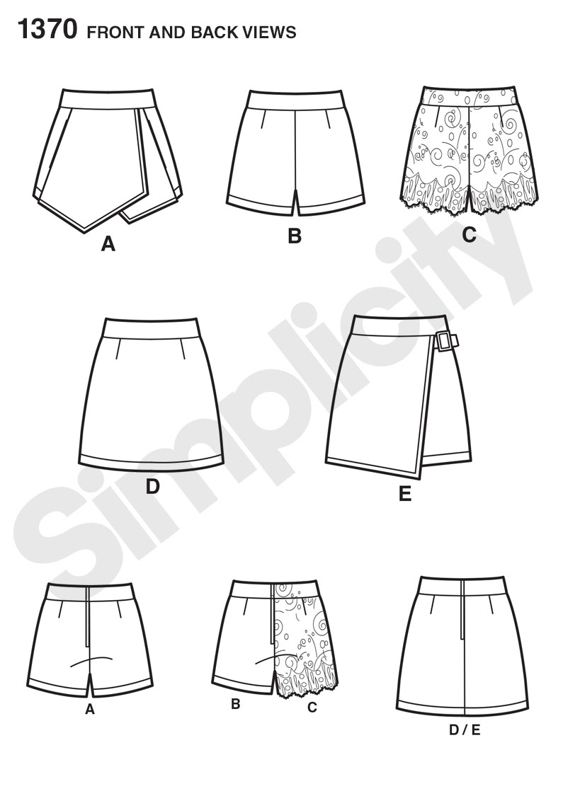 Simplicity 1370 Misses' Shorts, Skort and Skirt Line Drawing