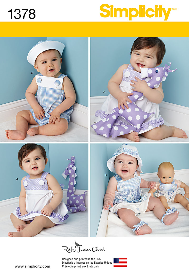 Simplicity Babies' Outfit with Doll Clothes & Accessories 1378