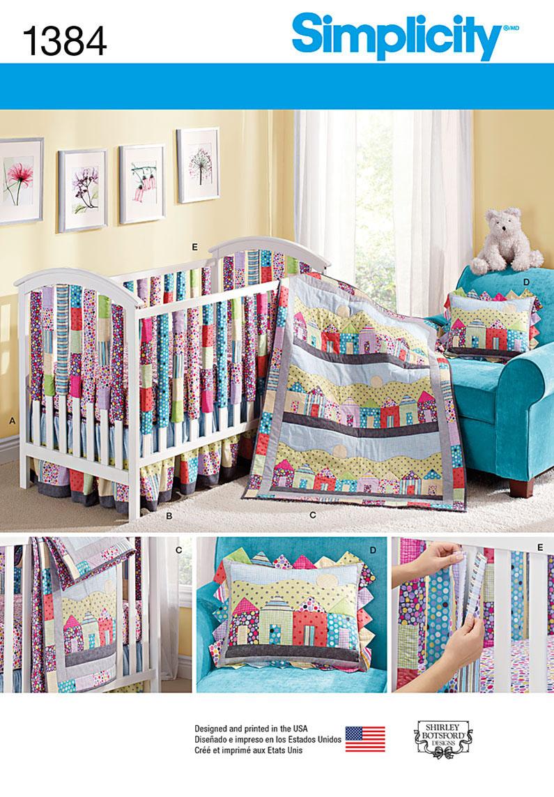 Simplicity Crib Sheet, Dust Ruffle, Quilt, Pillow, and Vertical Bumpers 1384