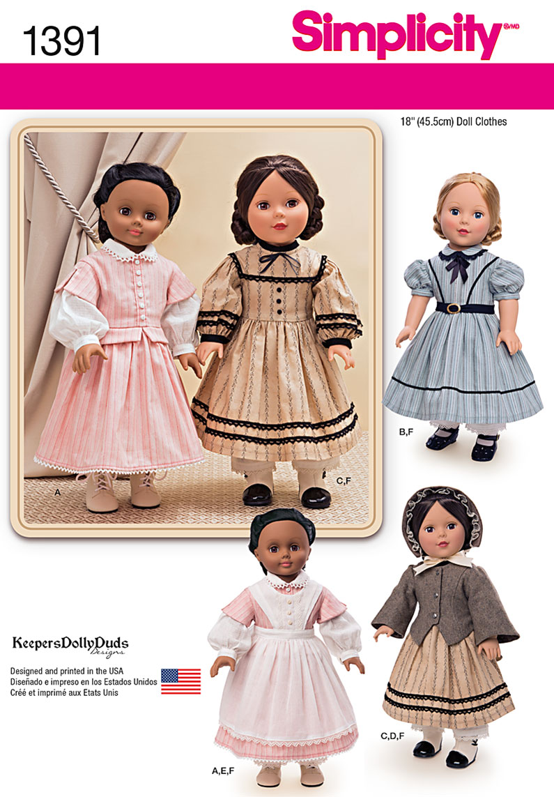 Simplicity Civil War Doll Costume for 18