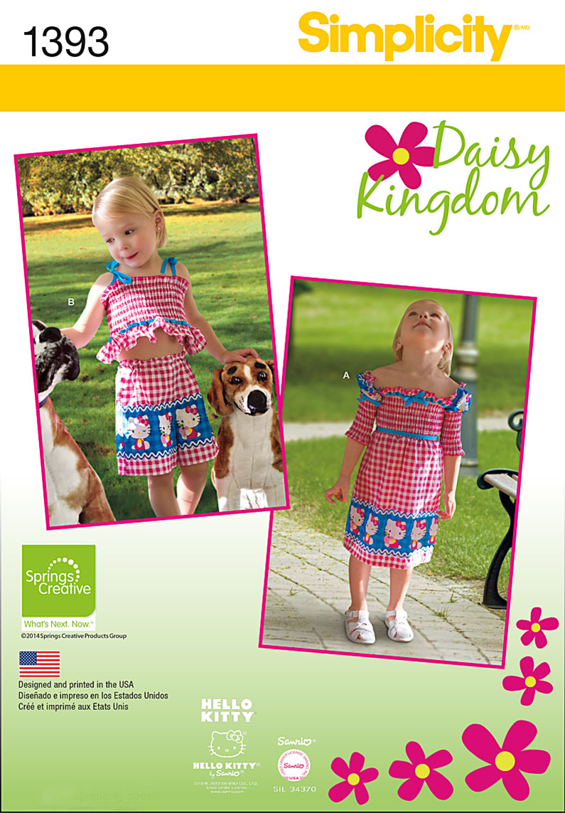 Simplicity Toddlers' Dress, Top, Shorts, Bag and Headband 1393