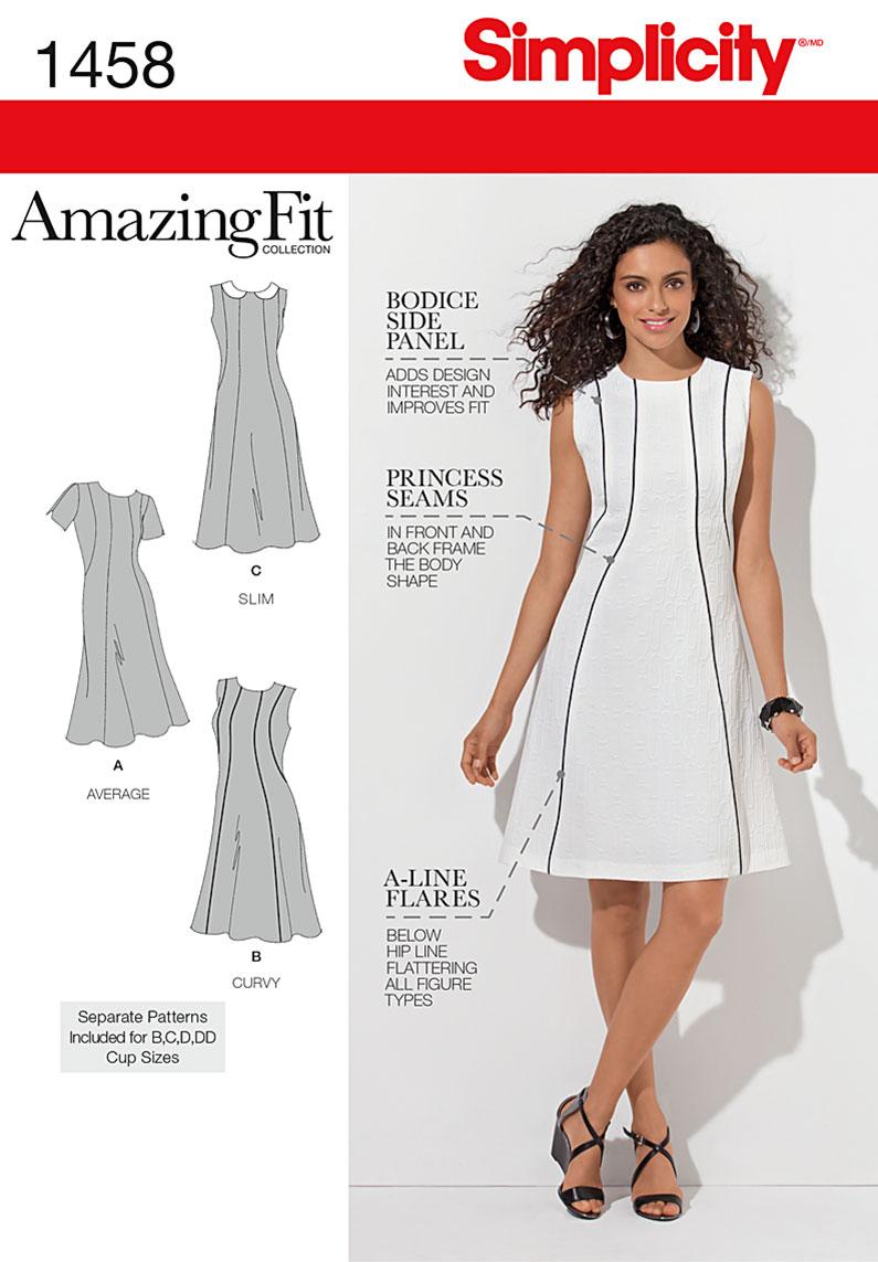 Simplicity Misses' & Plus Size Amazing Fit Dress 1458