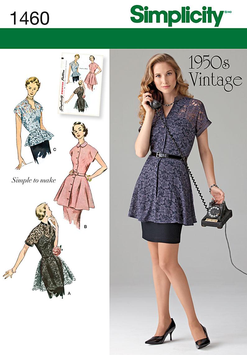 Simplicity Misses' 1950's Vintage Peplum Tunic & Blouse 1460