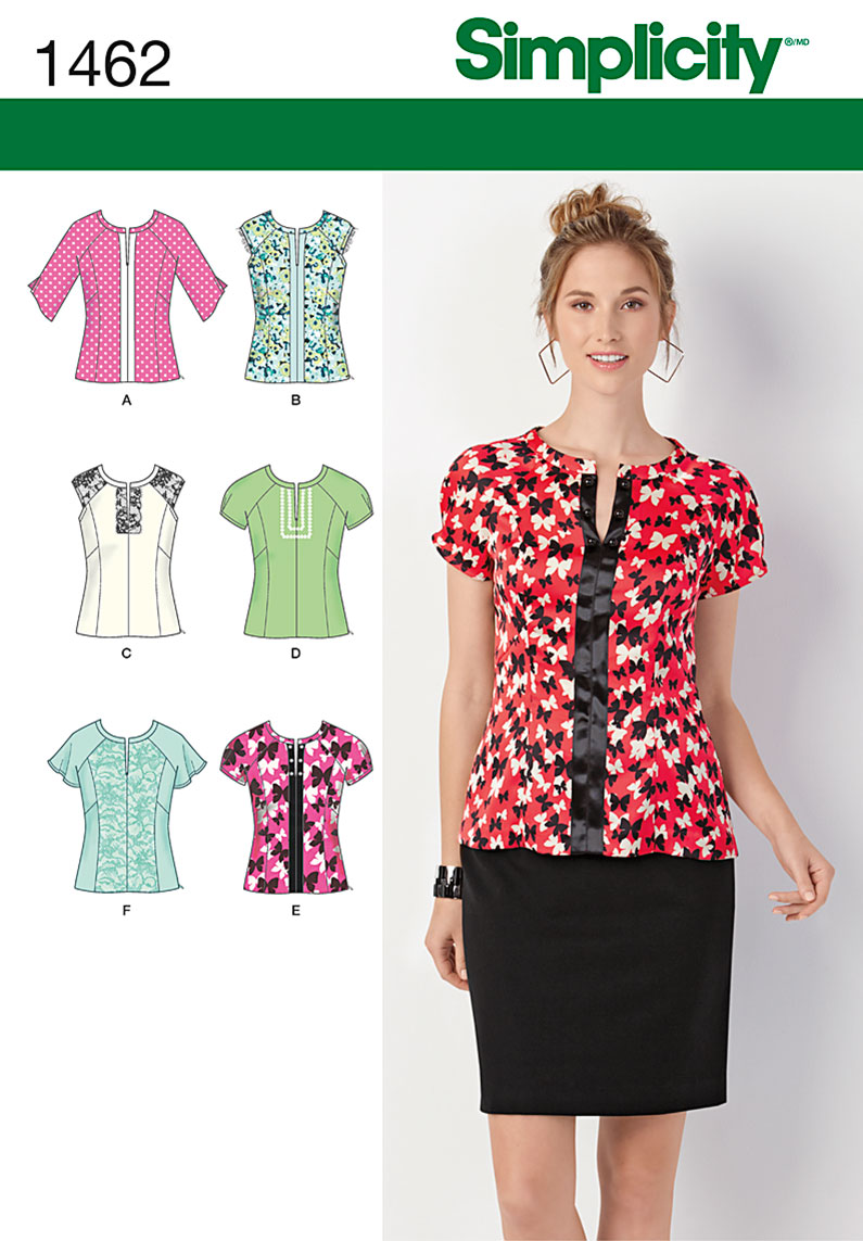 Simplicity Misses' Top with Sleeve & Trim Variations 1462