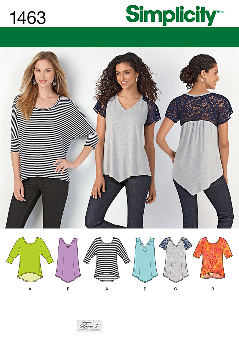 Simplicity Misses' Knit Tops 1463