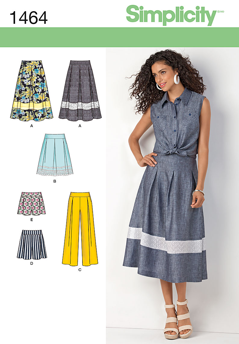 Simplicity Misses' Skirts, Shorts and Wide Leg Pants 1464