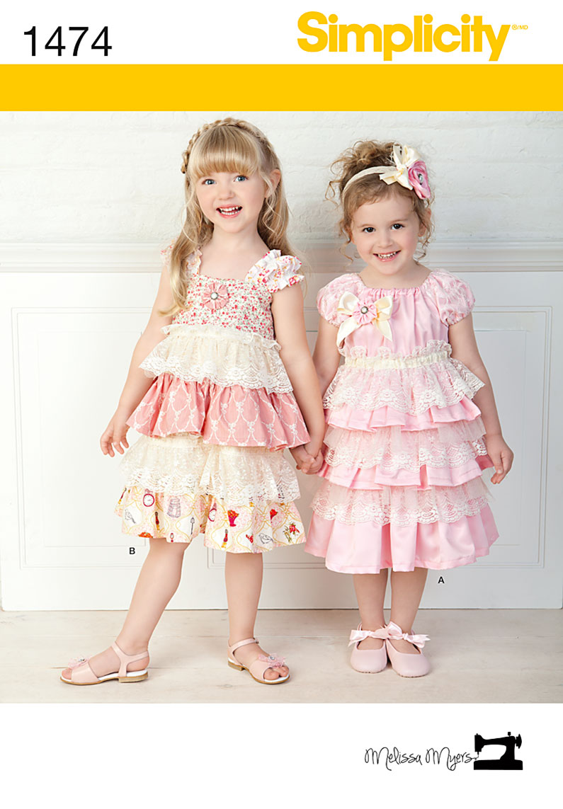 Simplicity Child Lacey Dresses and Headband 1474