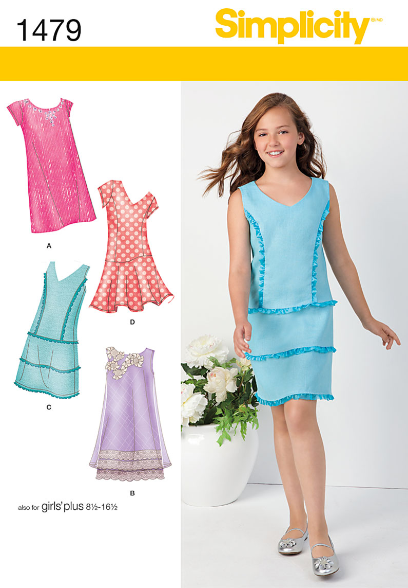 Simplicity Girls' & Girls' Plus Shift Dresses 1479