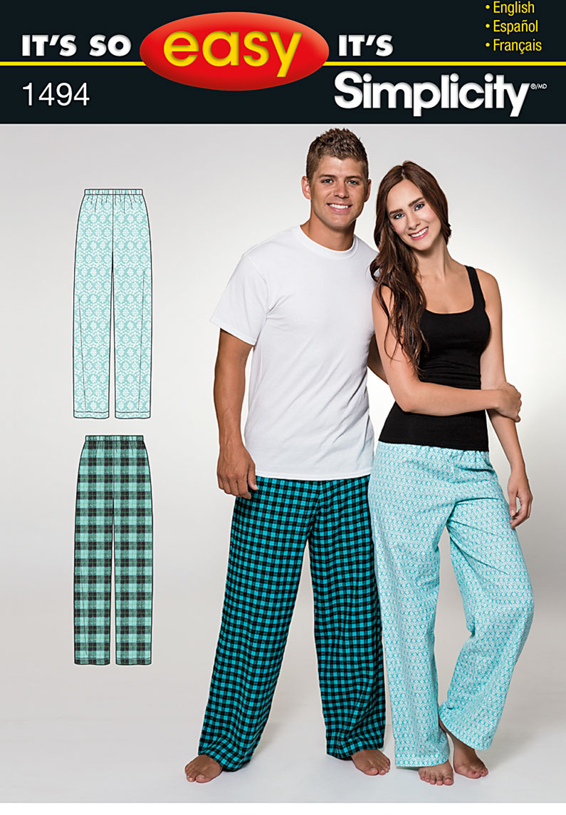 Simplicity It's So Easy Women's and Men's Pants 1494