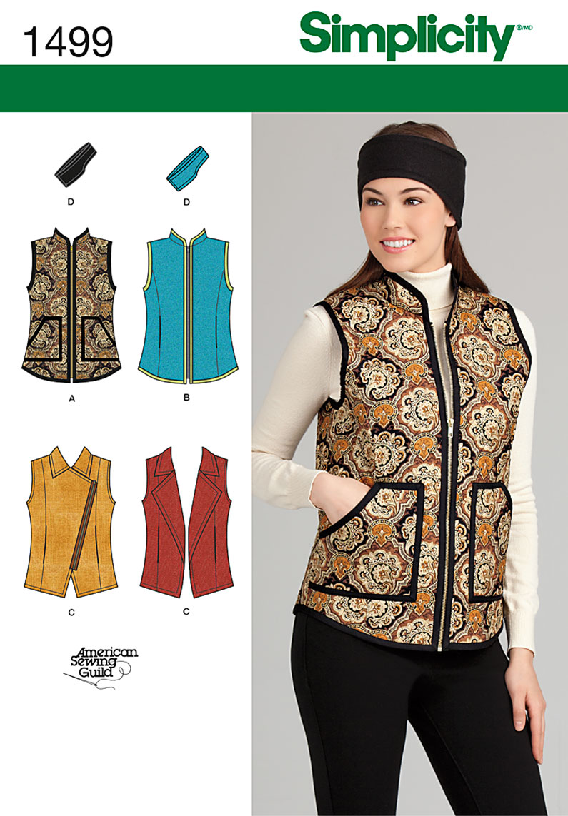 Simplicity Misses' Vest and Headband in Three Sizes 1499