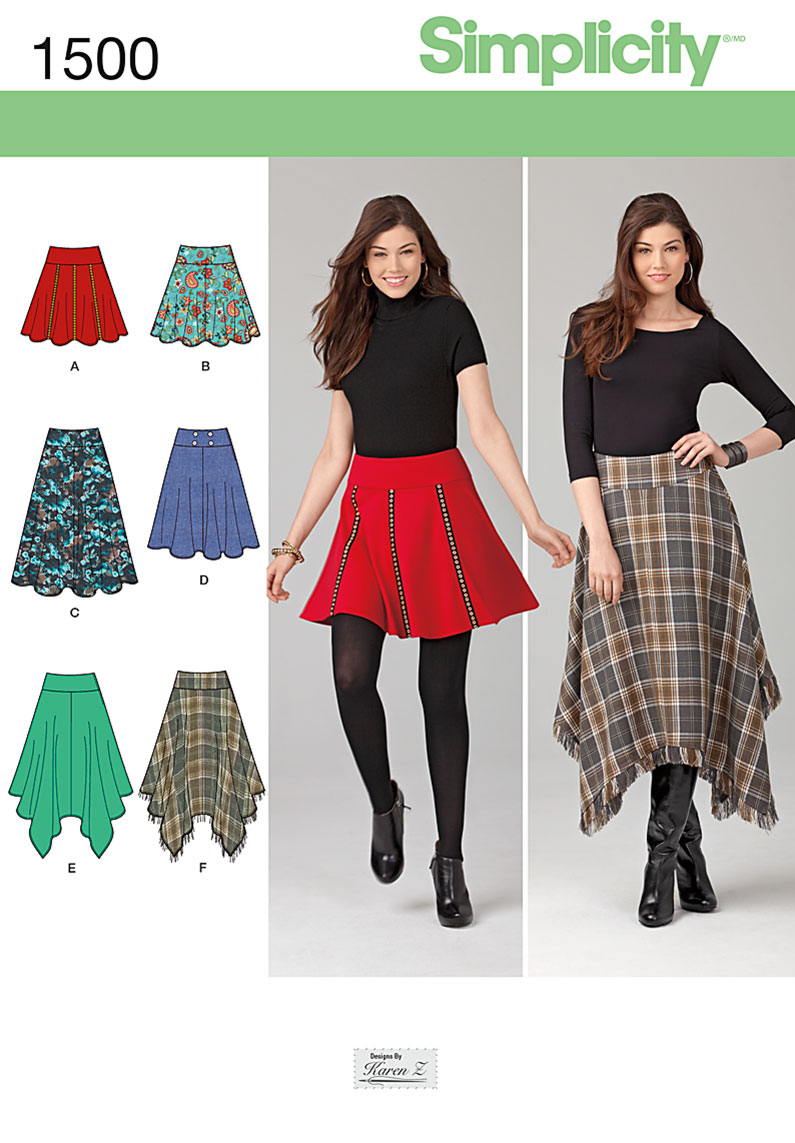 Simplicity Misses' Skirts with Length Variations 1500