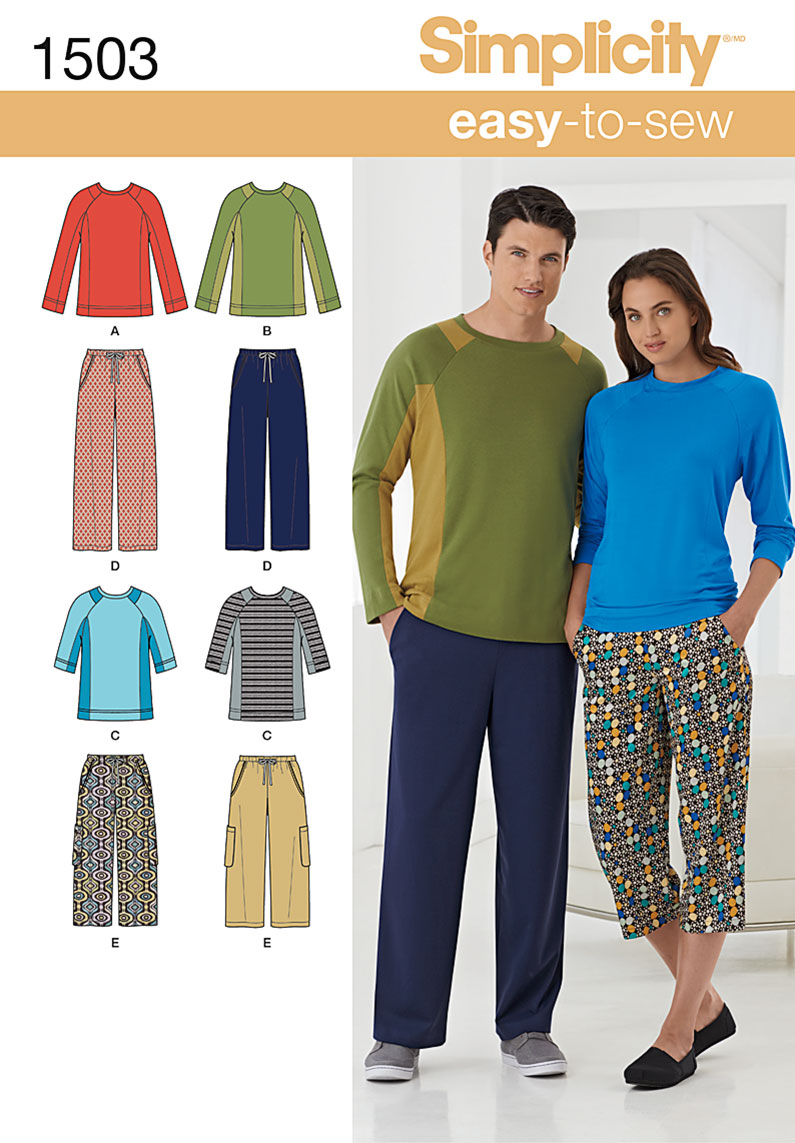 Simplicity Unisex Lounge Pants and Knit Top 1503