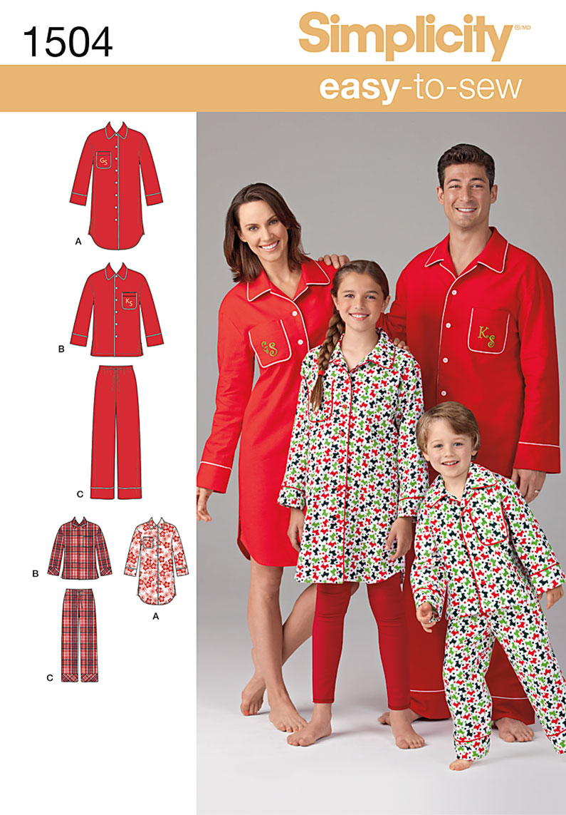 Simplicity Child's, Teens' and Adults' Loungewear 1504