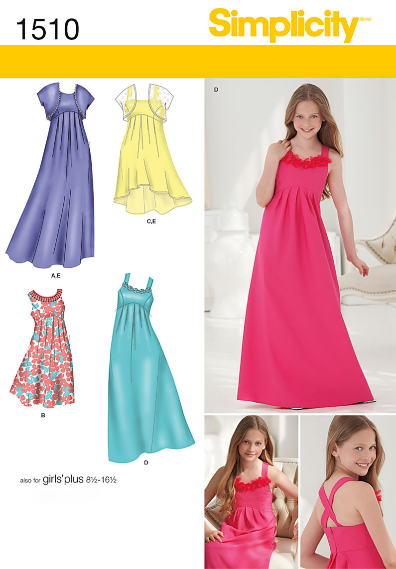 Simplicity 1510- Girls '& Girls' Plus Special Occasion Dress