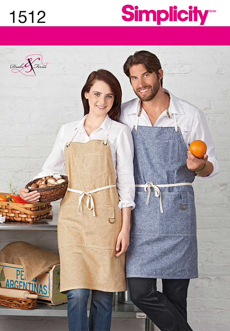Simplicity Misses' and Men's Apron with Pockets 1512