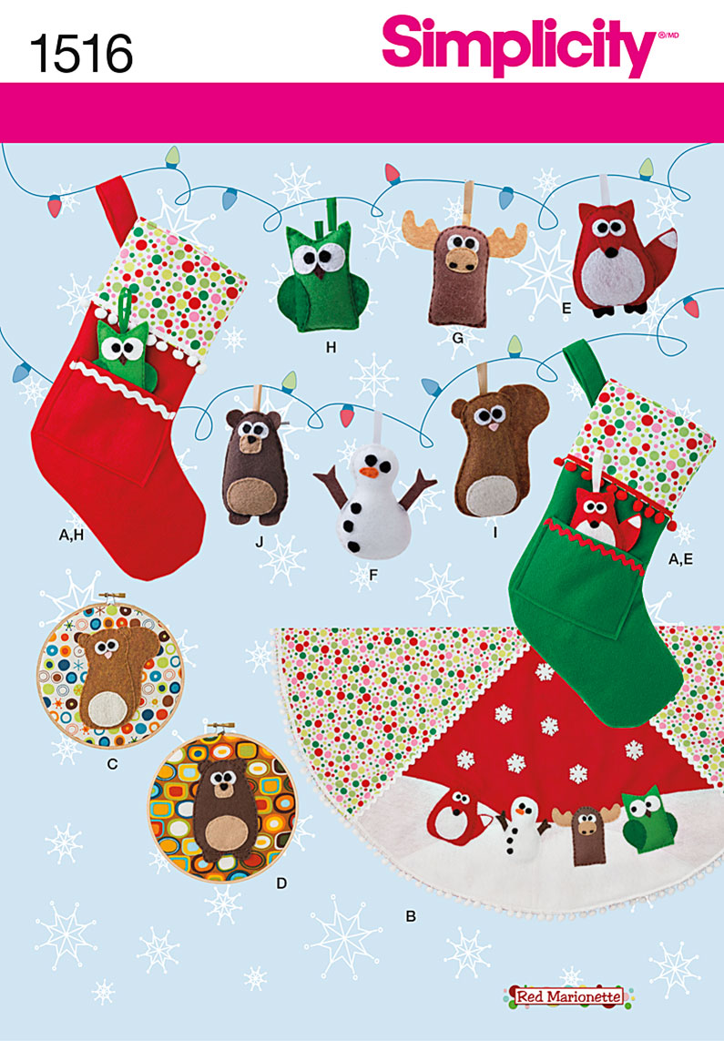 Simplicity Felt Ornaments, Wall Hangings, Stocking and Tree Skirt 1516