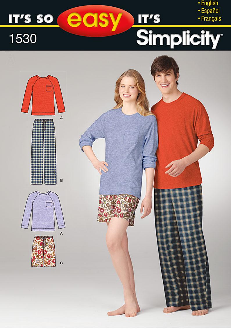 Simplicity It's So Easy Misses' & Men' Loungewear 1530