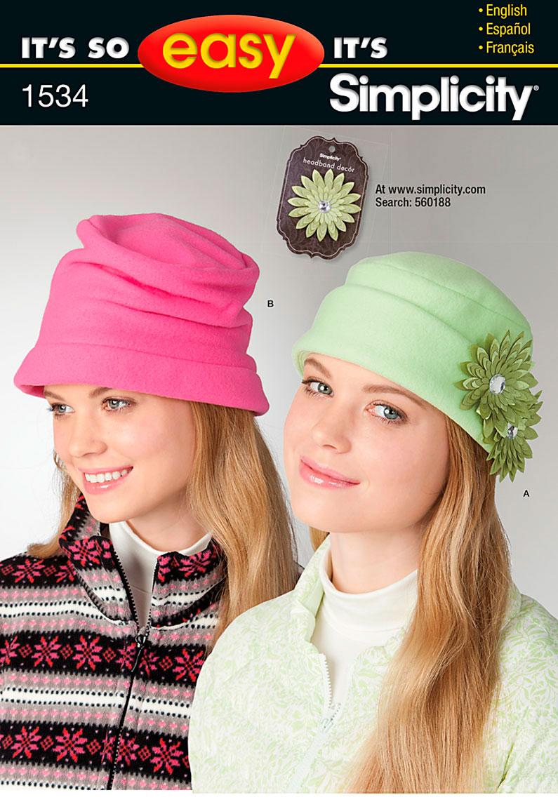 Simplicity It's So Easy Misses' Fleece Hats 1534