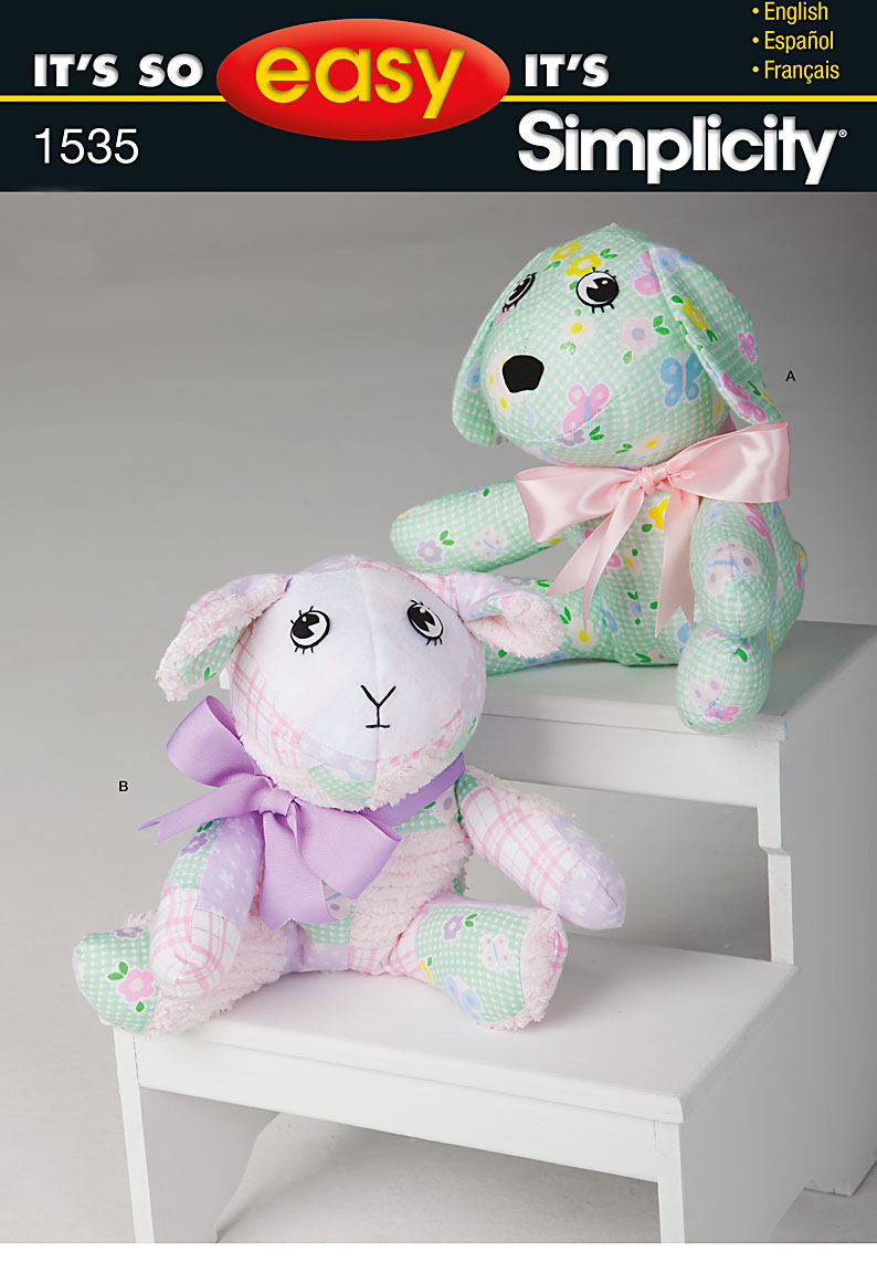 Simplicity It's So Easy Stuffed Dog and Lamb 1535