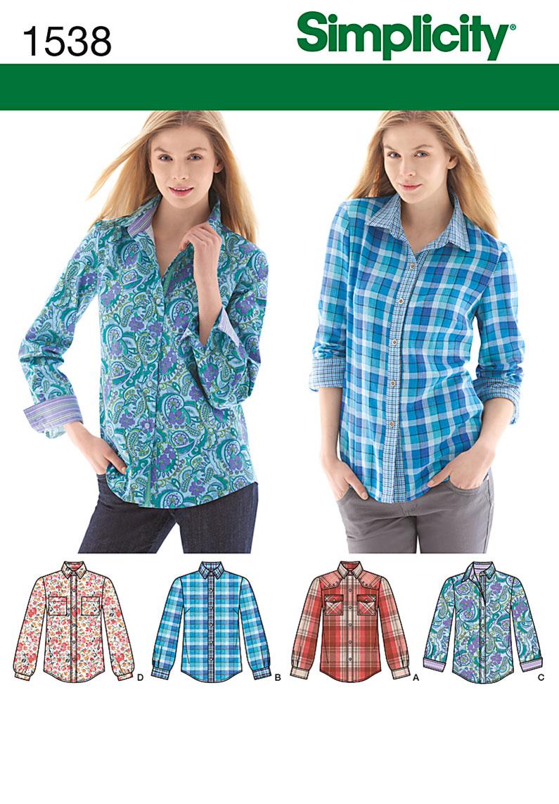 Simplicity Misses' Button Front Shirt sizes 6 - 22 1538