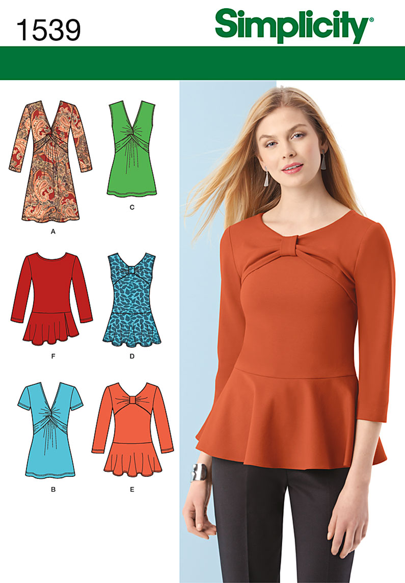 Simplicity Misses' Knit Tunic or Top and Peplum Tops 1539