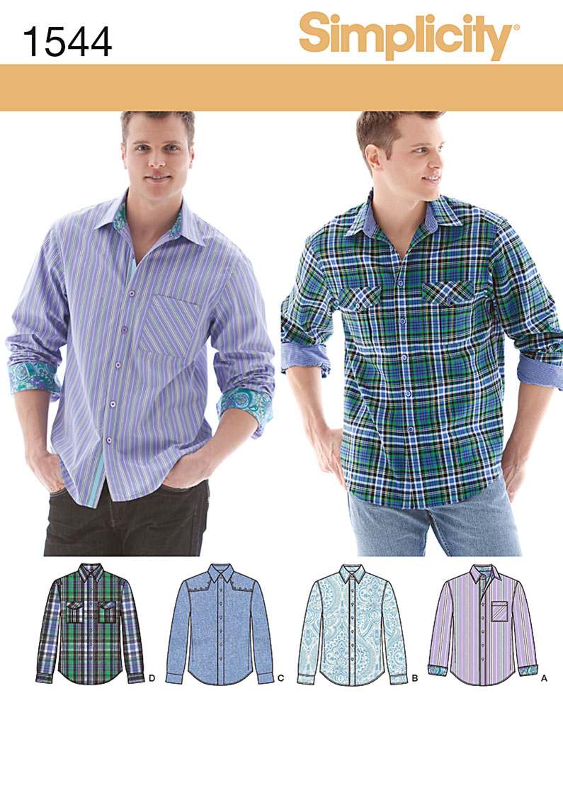 Simplicity Men's Shirt with Fabric Variations 1544