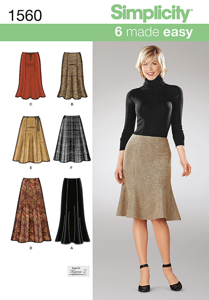 Simplicity Misses' Skirts Each in Two Lengths 1560