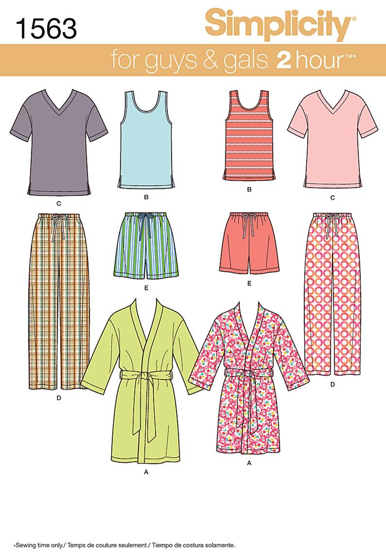Simplicity Misses' Men's and Teens' Sleepwear 1563