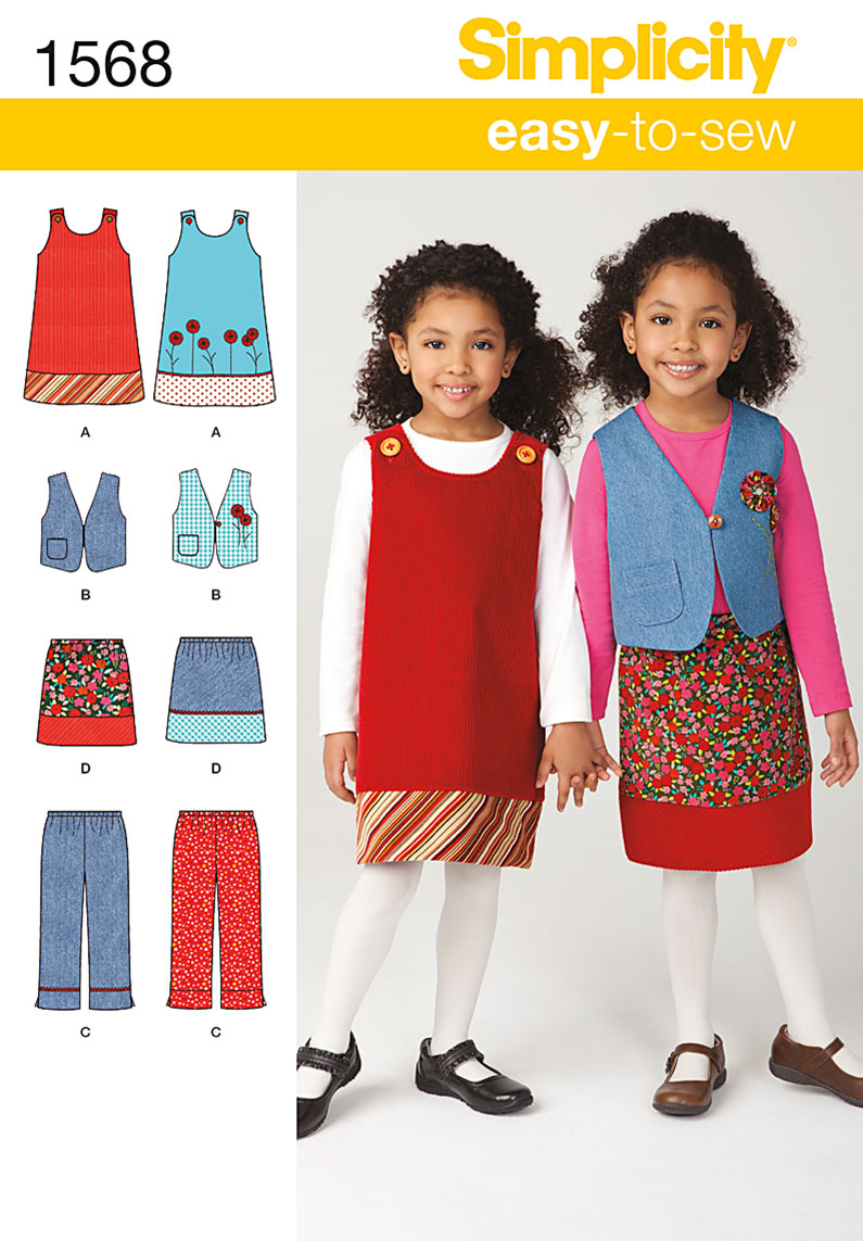 Simplicity Child's Jumper, Vest, Pants and Skirt 1568