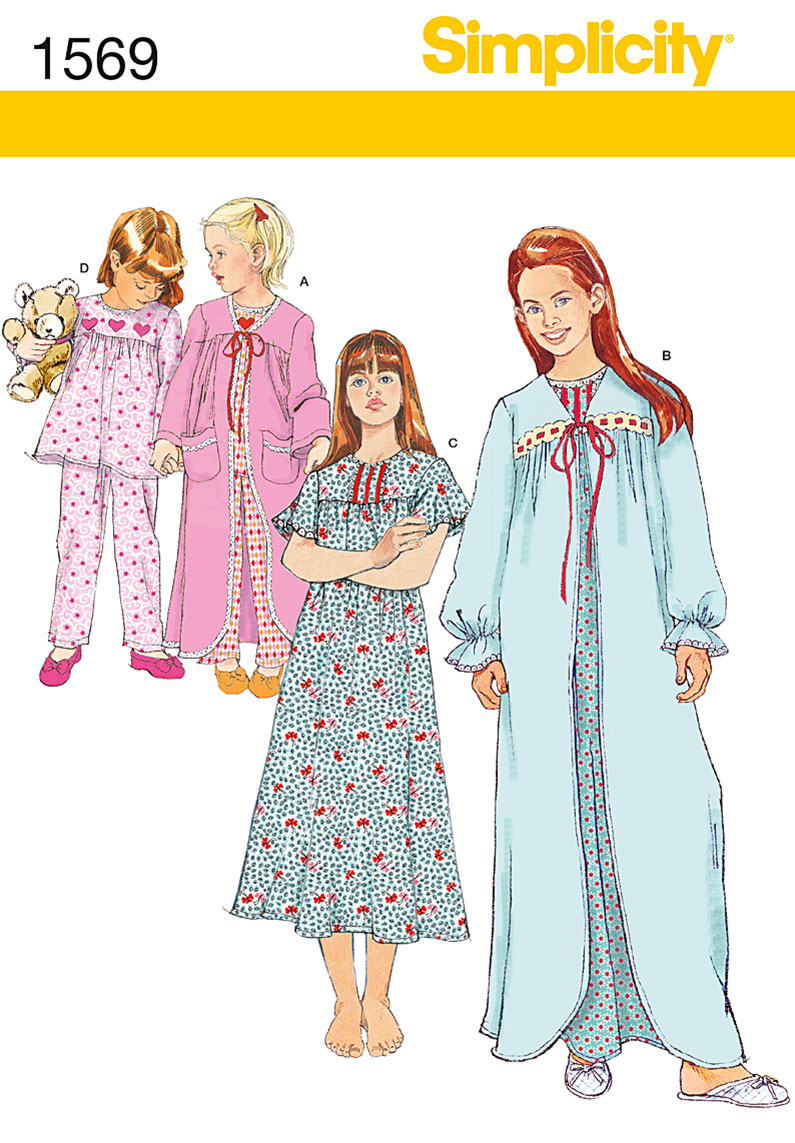Simplicity Child's and Girl's Sleepwear 1569