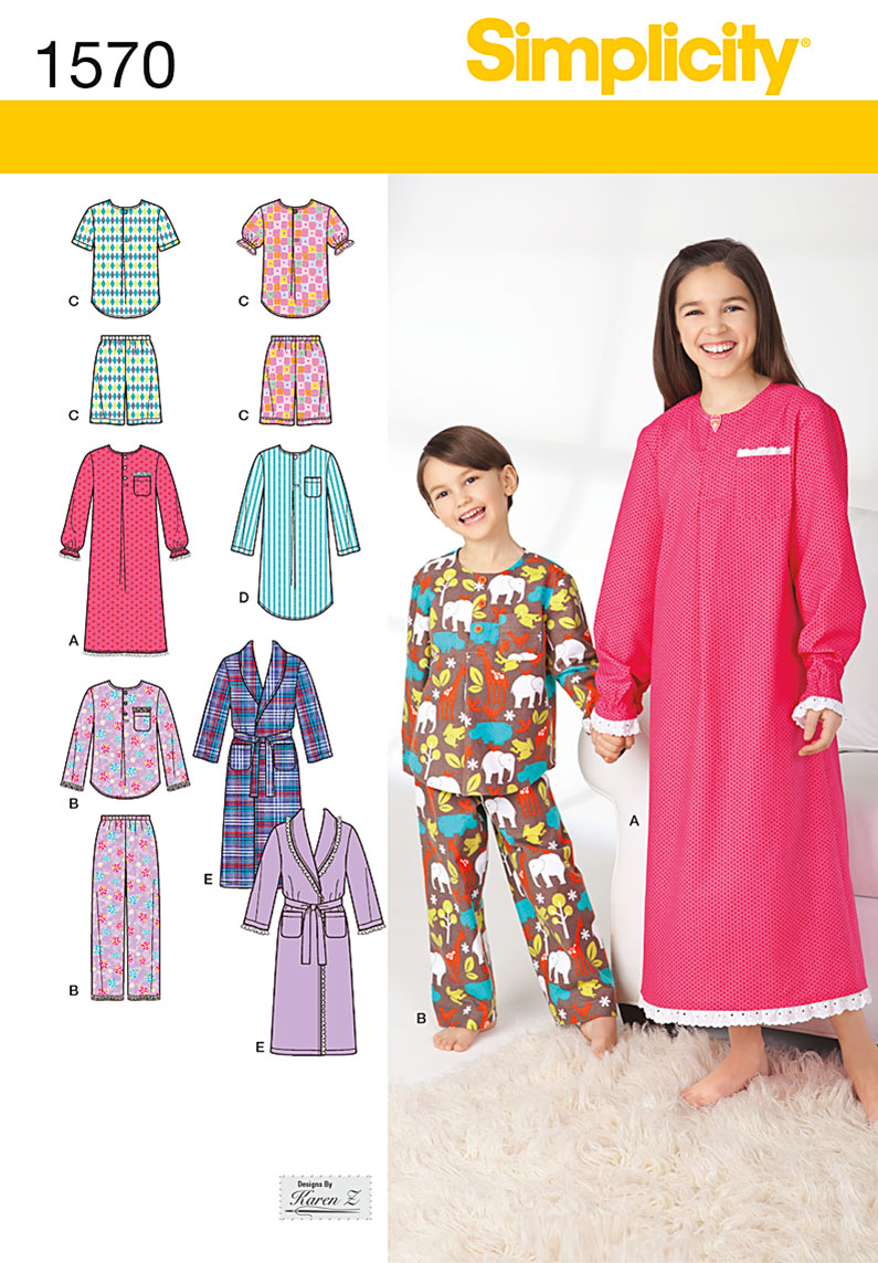 Simplicity Child's, Girls', and Boys' Loungewear 1570