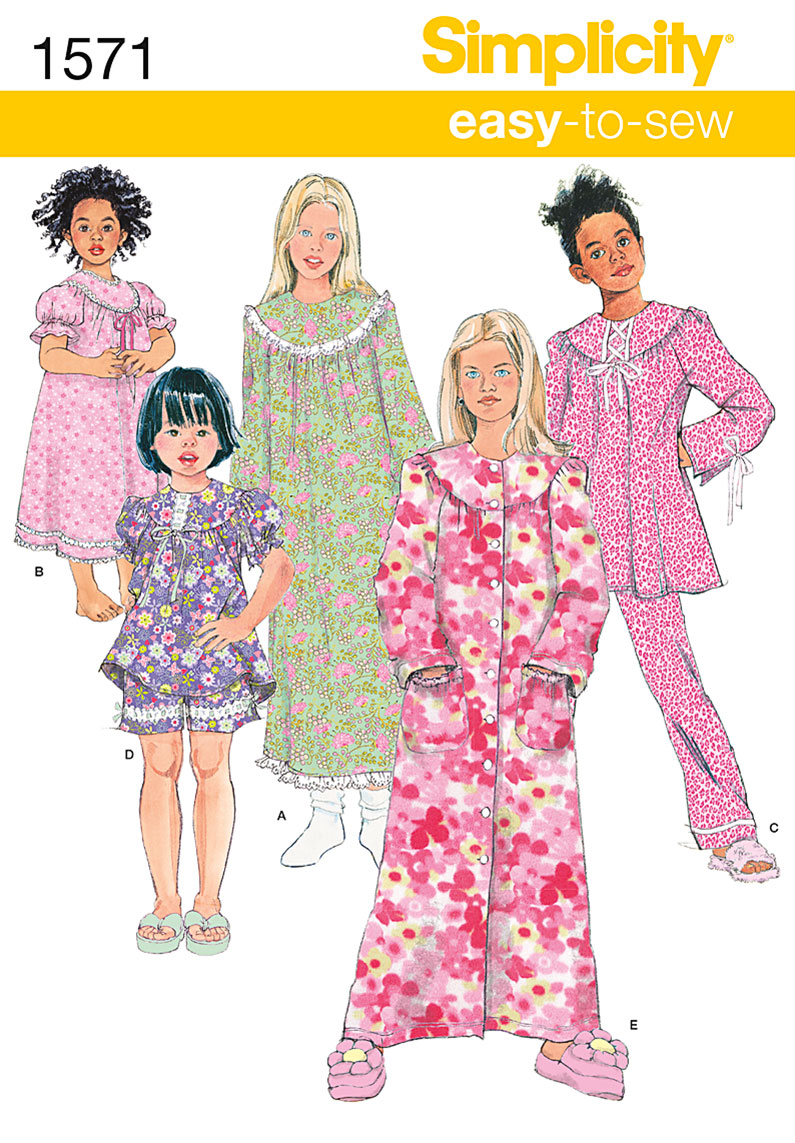 Simplicity Child's and Girl's Loungewear Separates 1571