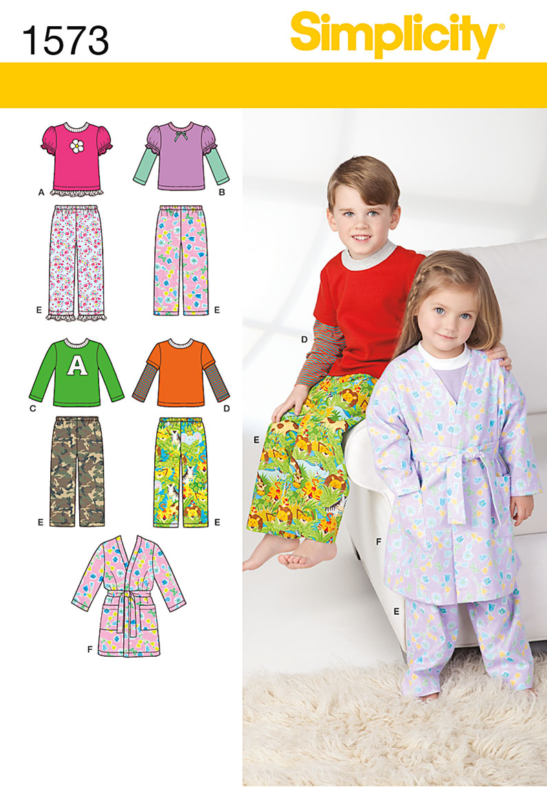 Simplicity Toddlers' and Child's Loungewear 1573