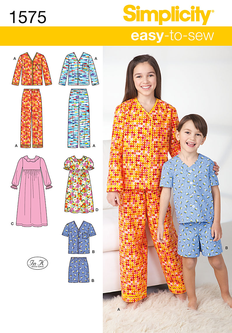 Simplicity Child's, Girl's and Boy's Loungewear 1575
