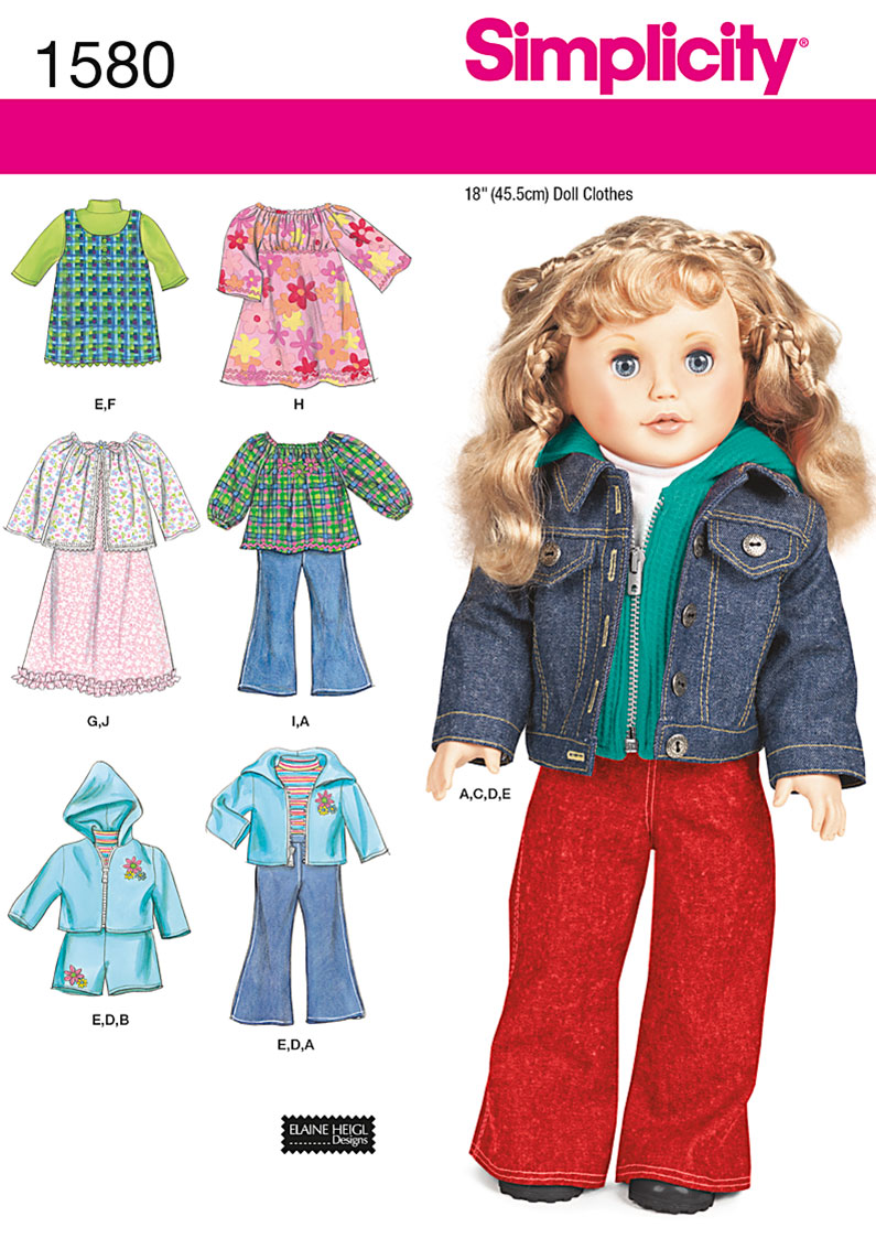 Simplicity Doll Clothes 1580
