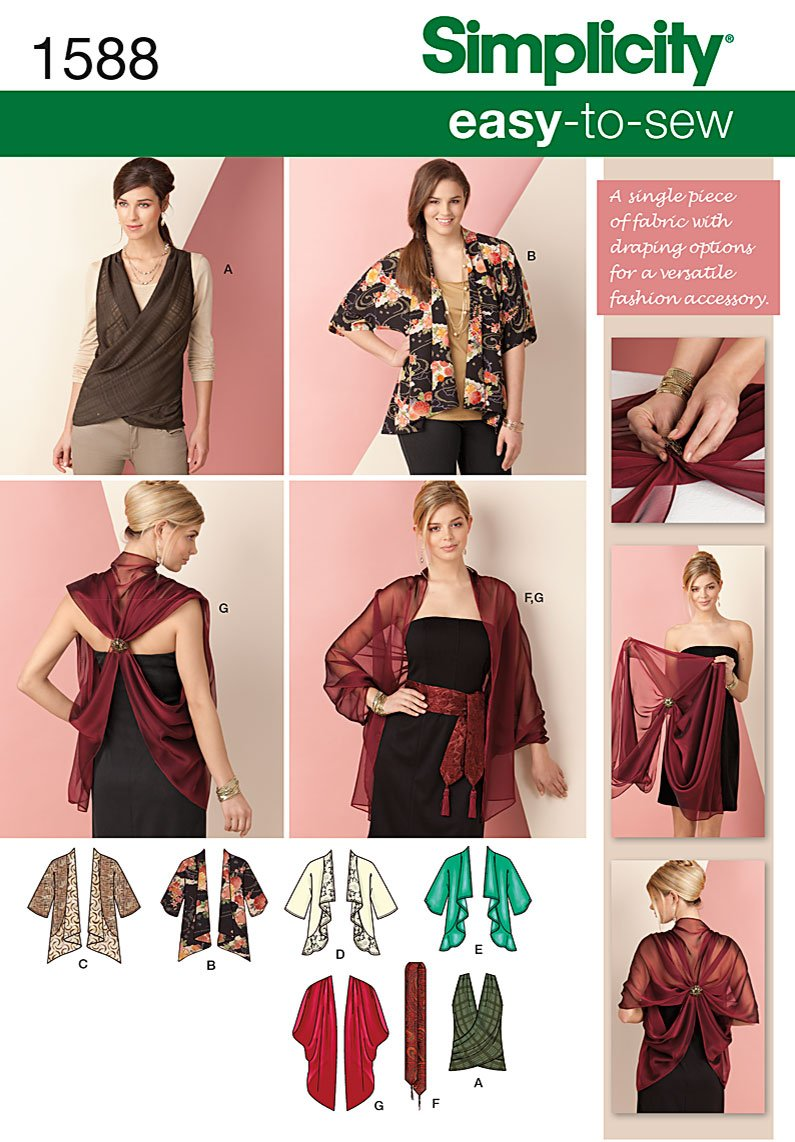 Simplicity Misses Jacket, Wrap, Belt and Scarf 1588