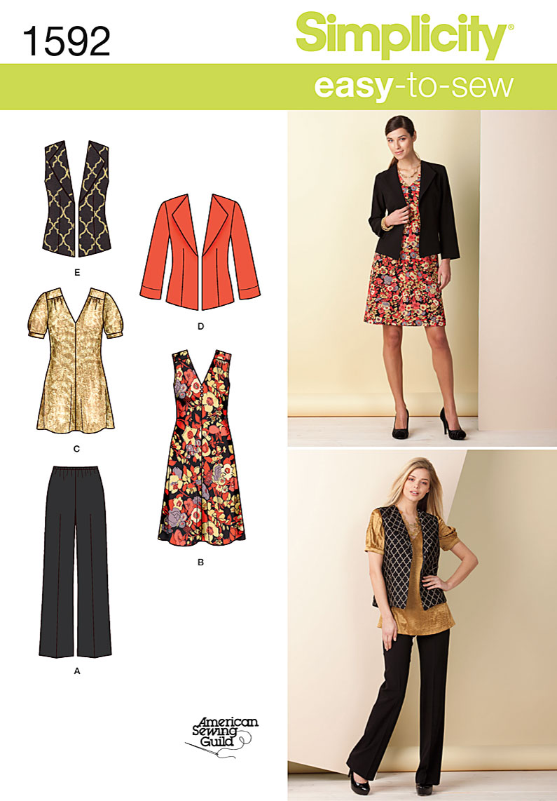 Simplicity Misses Vest, Jacket, Dress and Pants 1592