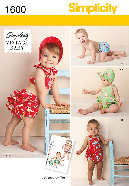 Simplicity Baby Romper Bikini, Panties and Bonnet 1600