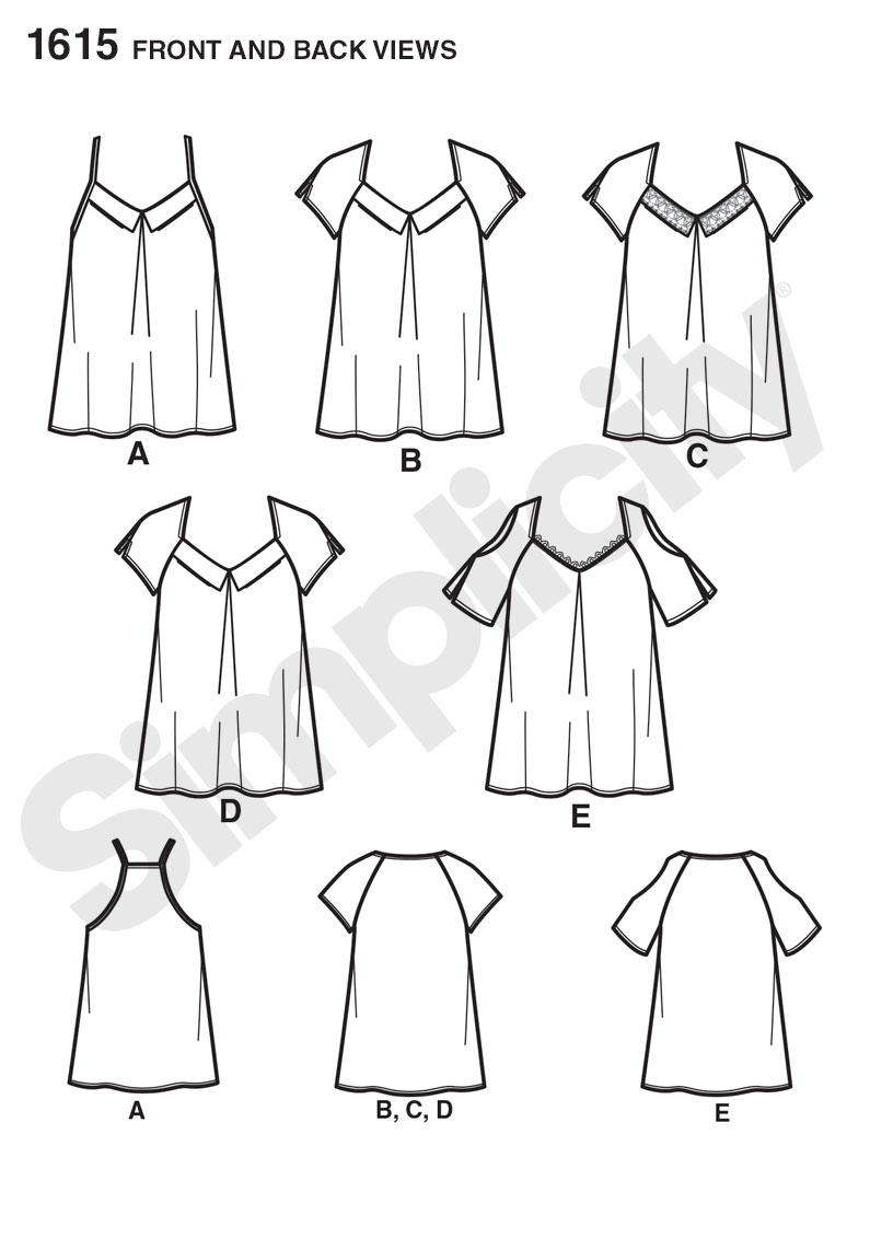 Simplicity 1615 Misses Tops Line Drawing