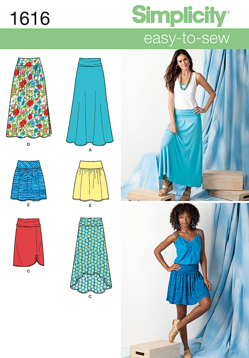 simplicity 1616 misses skirts sewing pattern