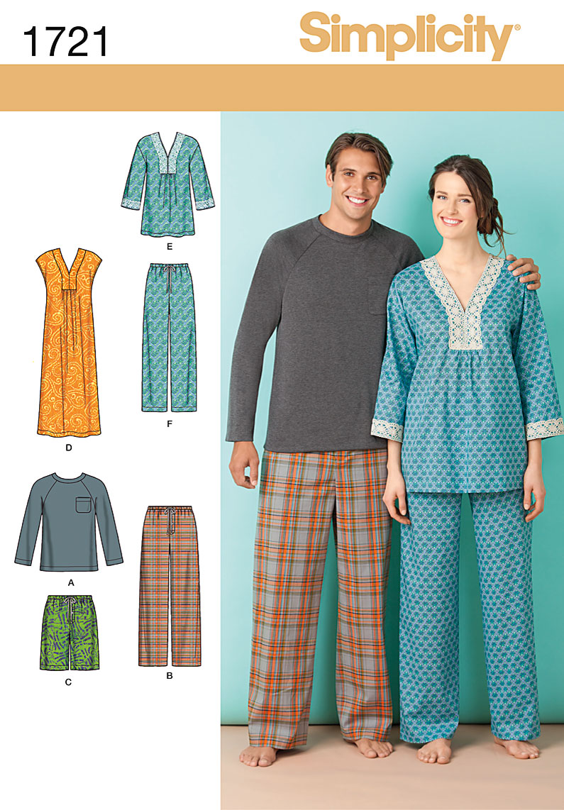Simplicity Men's and Misses Sleepwear 1721