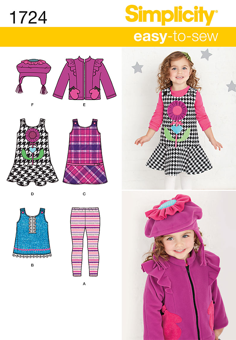 Simplicity Toddlers jumper, top, jacket and hat 1724