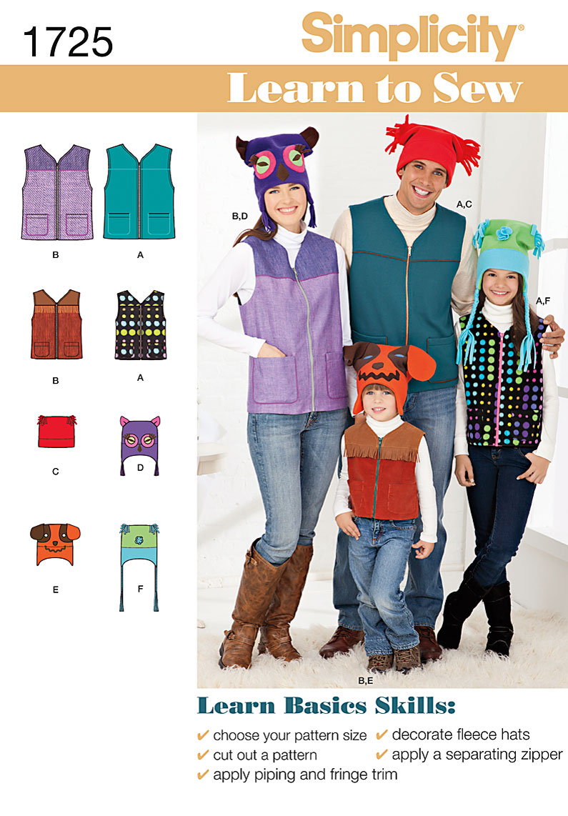 Simplicity Child and Adult Vests and Hats 1725