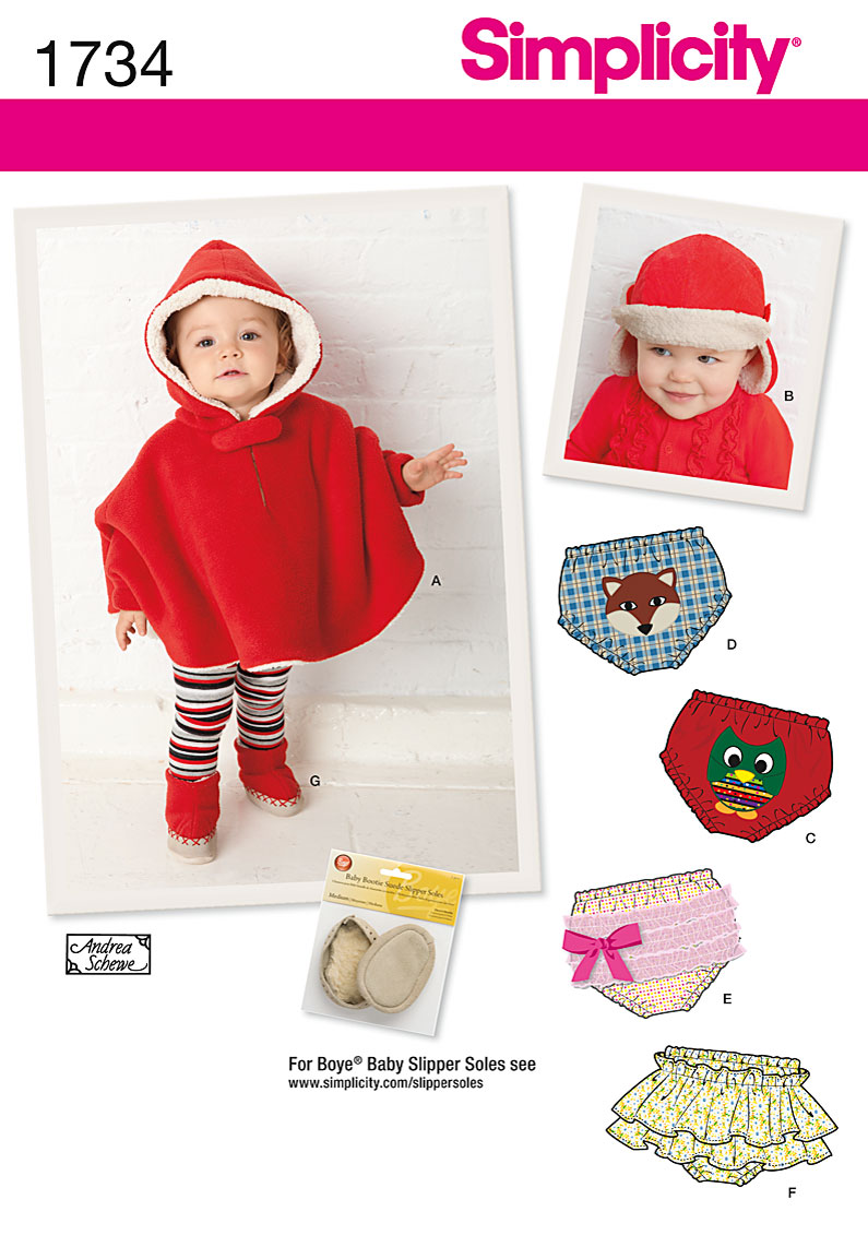 Simplicity Babies Poncho, Diaper cover and booties 1734