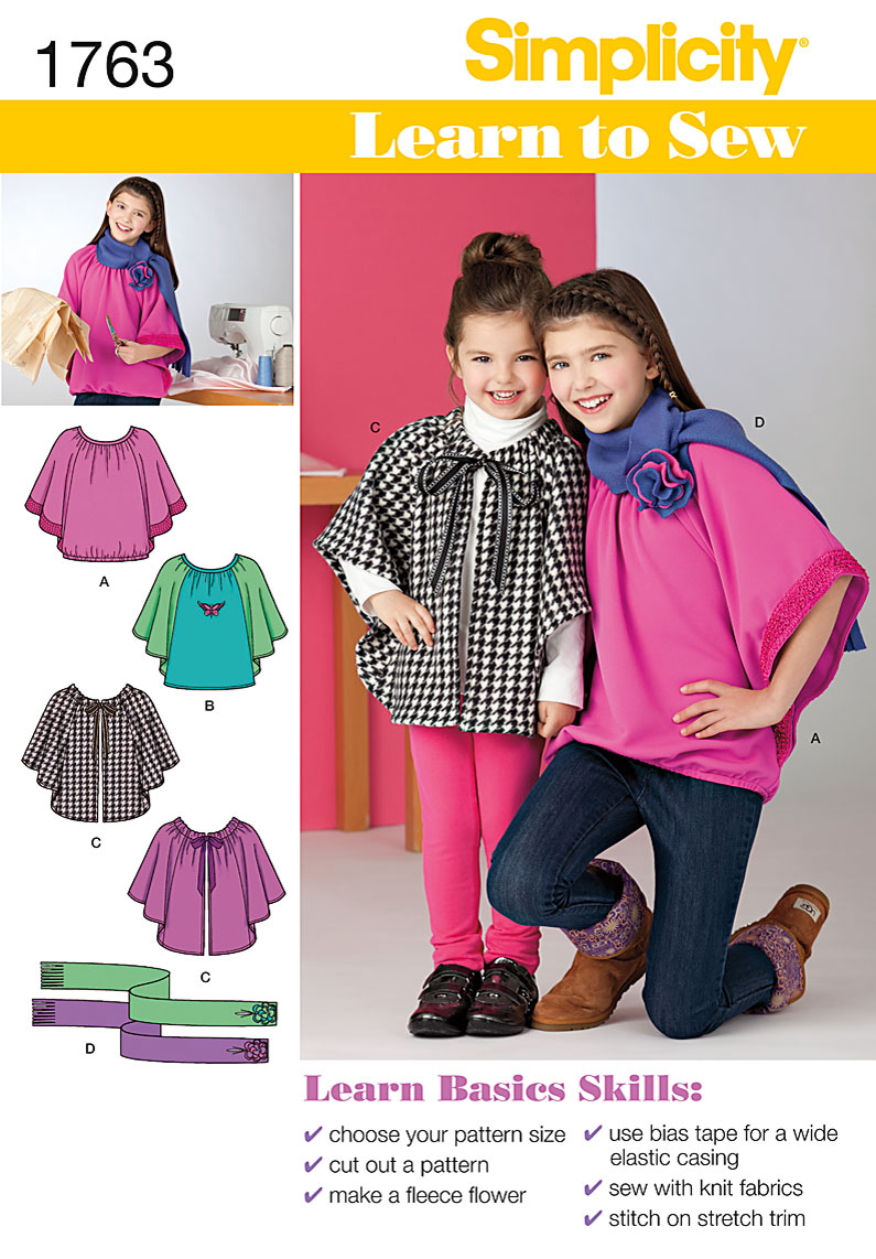 Simplicity Child's & Girls' Top and Capelet 1763