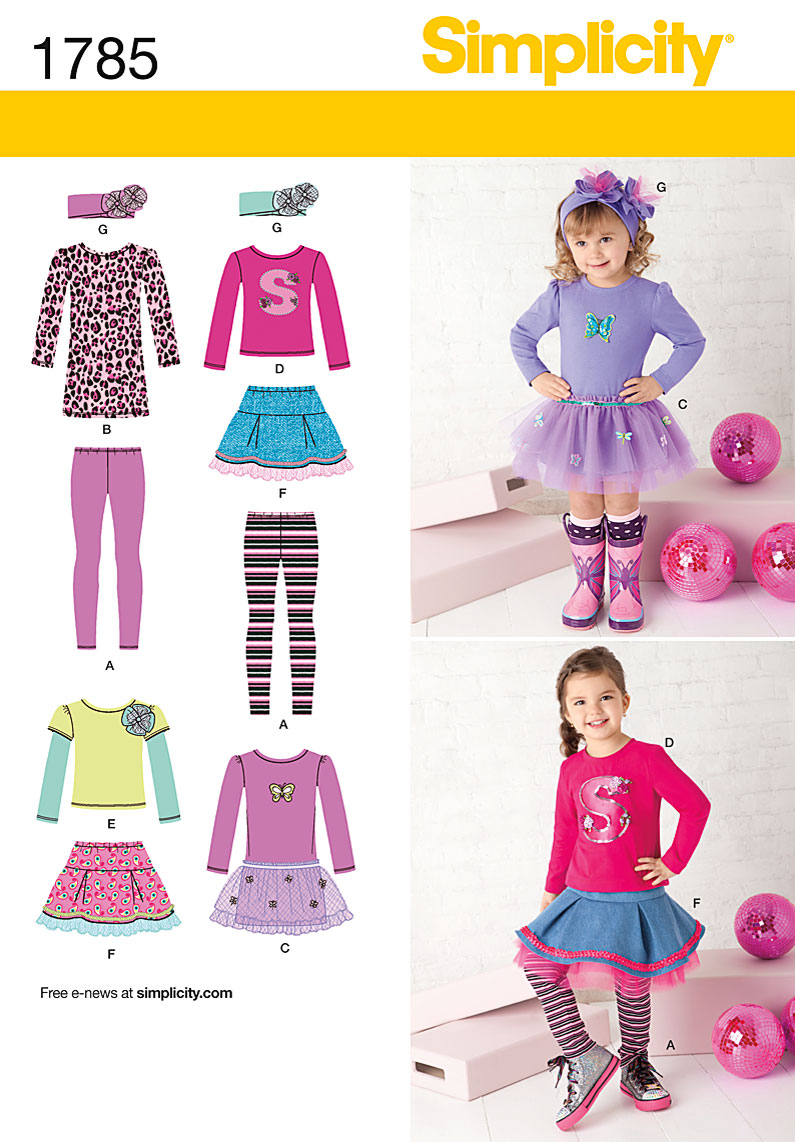 Simplicity Toddler and Child skirt, dress, t-shirt, leggings. 1785